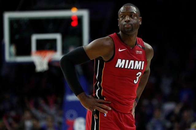 "<a class=""link rapid-noclick-resp"" href=""/nba/players/3708/"" data-ylk=""slk:Dwyane Wade"">Dwyane Wade</a> has some game left, but will he return to play next season? (AP)"