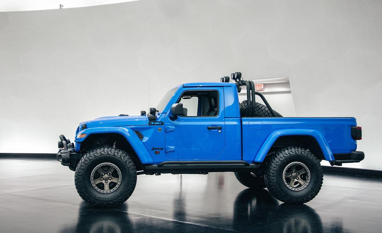 """<p>Overall length is 201.0 inches, over a foot shorter than the 218.1-inch Gladiator, while the J6's wheelbase matches that of <a href=""""https://www.caranddriver.com/jeep/wrangler"""" target=""""_blank"""">the standard two-door Wrangler</a> at 118.4 inches. </p>"""