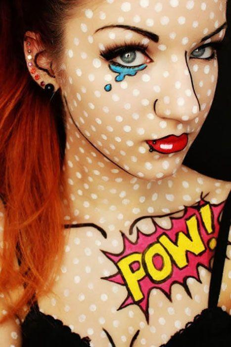 """<p>With this cool costume makeup, you can pretty much wear whatever you want and still look incredibly put-together. It doesn't get any better than that, right? </p><p><a class=""""link rapid-noclick-resp"""" href=""""https://www.amazon.com/Mehron-Tri-Color-Halloween-Palette-Skeleton/dp/B000LNGBN6/ref=sr_1_42_s_it?tag=syn-yahoo-20&ascsubtag=%5Bartid%7C10055.g.2750%5Bsrc%7Cyahoo-us"""" rel=""""nofollow noopener"""" target=""""_blank"""" data-ylk=""""slk:SHOP FACE PAINT"""">SHOP FACE PAINT</a></p><p><em><a href=""""http://besthalloweenblog.blogspot.com/2013/10/comic-book-girl-pop-art-halloween.html"""" rel=""""nofollow noopener"""" target=""""_blank"""" data-ylk=""""slk:See more on Best Halloween Blog »"""" class=""""link rapid-noclick-resp"""">See more on Best Halloween Blog »</a></em></p>"""