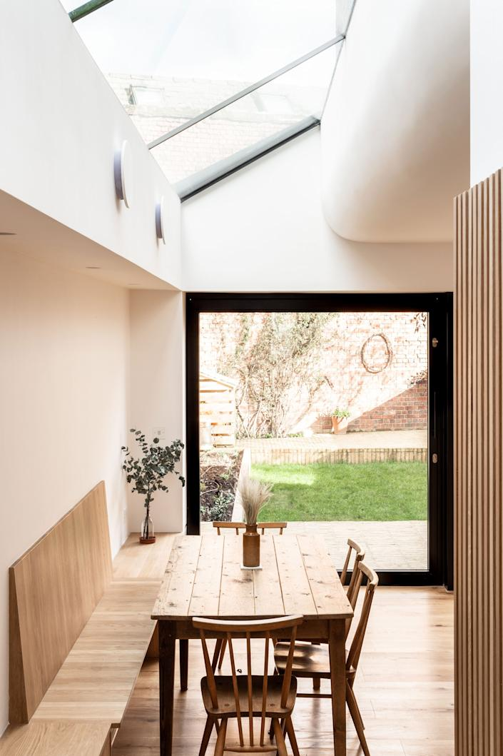 """<div class=""""caption""""> """"We look back at it now and it's a very obvious and simple thing to do, but we actually hadn't done it or thought of it before,"""" George says of the slanted glass roof. """"We equally hadn't seen it somewhere else, it's not something we lifted from somebody. It hadn't been done in that kind of context."""" </div> <cite class=""""credit"""">FRENCH+TYE</cite>"""
