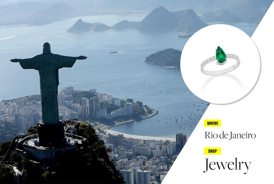 """<p>The hottest spot south of Havana is indeed Copacabana (to paraphrase Barry Manilow). With the Olympics starting Aug. 6, now might be the perfect time to visit the seaside Brazilian city of Rio de Janeiro. Stay at the supersleek <a href=""""http://www.fasano.com.br/hotelaria/hotel/2"""" rel=""""nofollow noopener"""" target=""""_blank"""" data-ylk=""""slk:Hotel Fasano"""" class=""""link rapid-noclick-resp"""">Hotel Fasano</a> on Ipanema beach, visit the famous Christ the Redeemer statue and Sugarloaf Mountain, then head to the well-heeled neighborhood of Leblon to shop at local stores. Shopping in Rio is much more than swimwear and flip-flops: Jewelry is what you should be buying here, and for serious buyers, Roberta Do Rio is your one-stop shop! </p><p>Photo: Getty Images</p>"""