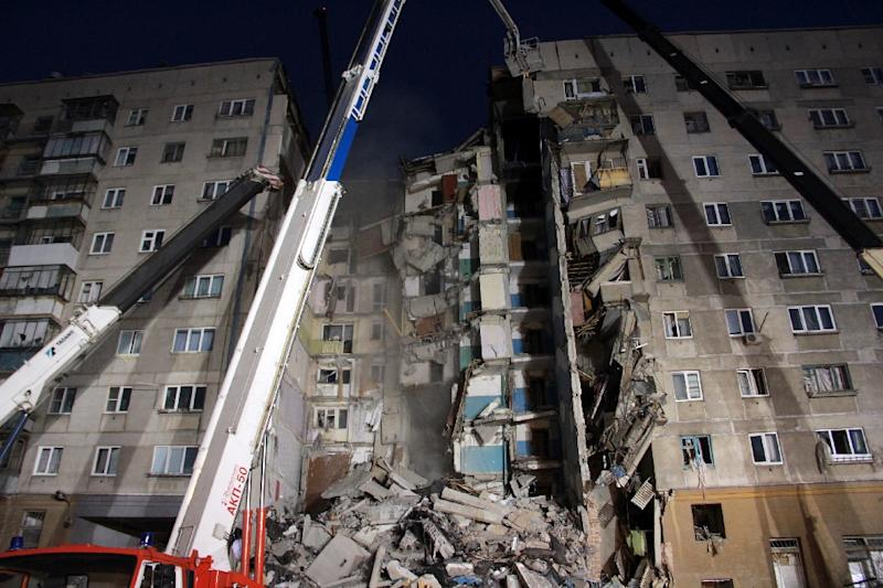 A large section of the building collapsed after a gas explosion in the central Russian city of Magnitogorsk (AFP Photo/Ilya MOSKOVETS)