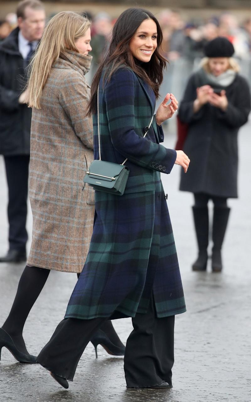 Meghan Markle in Edinburgh today, wearing Burberry and Strathberry - Getty Images Europe
