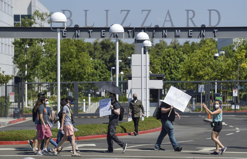 Blizzard Entertainment employees and supporters protest for better working conditions in Irvine, CA, on Wednesday, July 28, 2021. (Photo by Jeff Gritchen/MediaNews Group/Orange County Register via Getty Images)