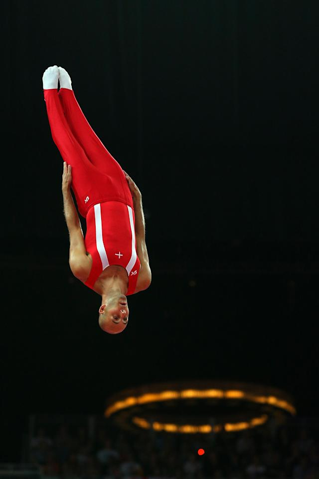 LONDON, ENGLAND - AUGUST 03: Peter Jensen of Denmark competes on the Men's Trampoline during Day 7 of the London 2012 Olympic Games at North Greenwich Arena on August 3, 2012 in London, England. (Photo by Cameron Spencer/Getty Images)