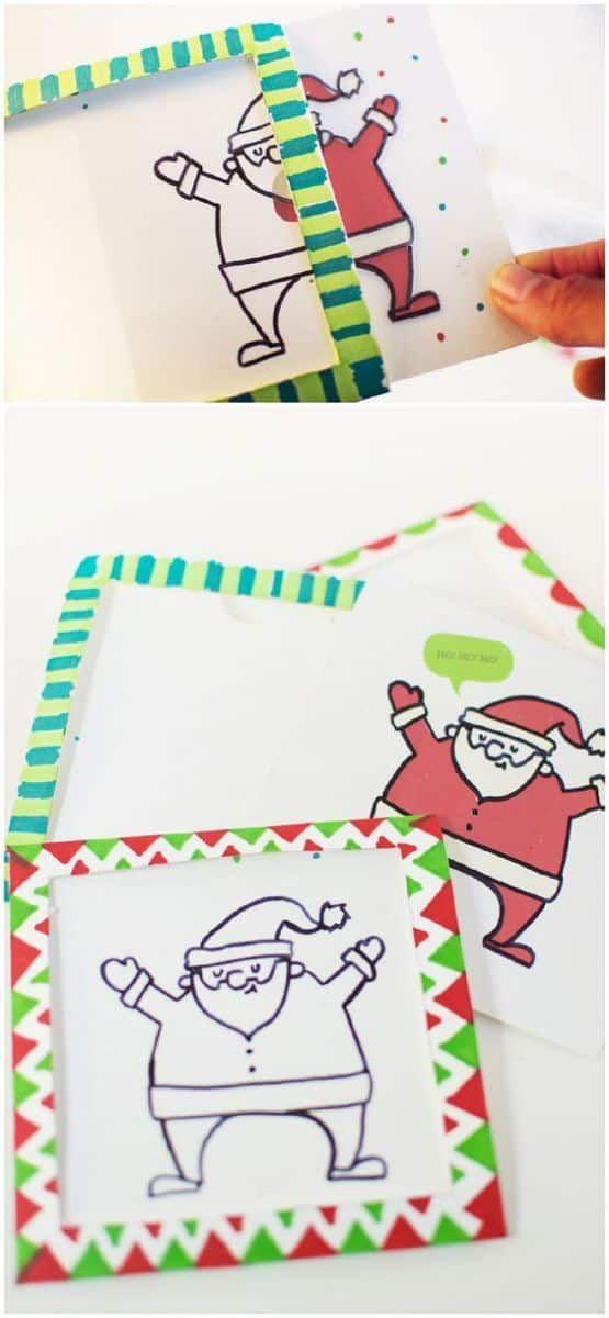 """<p>This Christmas card doubles as a magic trick—a fact that's sure to delight the kids of your family friends. When you pull the line drawing of Santa out of the card, he'll """"turn"""" red and white.</p><p><strong>Get the tutorial at <a href=""""https://www.hellowonderful.co/post/DIY-MAGIC-TRICK-CHRISTMAS-CARD/"""" rel=""""nofollow noopener"""" target=""""_blank"""" data-ylk=""""slk:Hello, Wonderful"""" class=""""link rapid-noclick-resp"""">Hello, Wonderful</a>.</strong></p><p><strong><a class=""""link rapid-noclick-resp"""" href=""""https://www.amazon.com/gp/product/B0040YC7FI?tag=syn-yahoo-20&ascsubtag=%5Bartid%7C10050.g.3872%5Bsrc%7Cyahoo-us"""" rel=""""nofollow noopener"""" target=""""_blank"""" data-ylk=""""slk:SHOP TRANSPARENCY FILM"""">SHOP TRANSPARENCY FILM</a><br></strong></p>"""