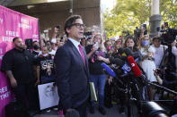 """Britney Spears' attorney, Mathew Rosengart speaks outside the Stanley Mosk Courthouse, Wednesday, Sept. 29, 2021, in Los Angeles. A judge on Wednesday suspended Britney Spears' father from the conservatorship that has controlled the singer's life and money for 13 years, saying the arrangement """"reflects a toxic environment."""" (AP Photo/Chris Pizzello)"""