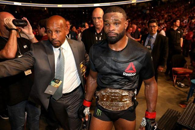 Tyron Woodley won his fight with Demian Maia via unanimous decision. (Getty Images)