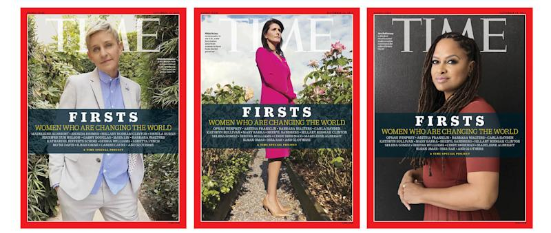"""Three of the Time """"FIRSTS"""" covers, featuring Ellen Degeneres, Nikki Haley and Ava DuVernay."""