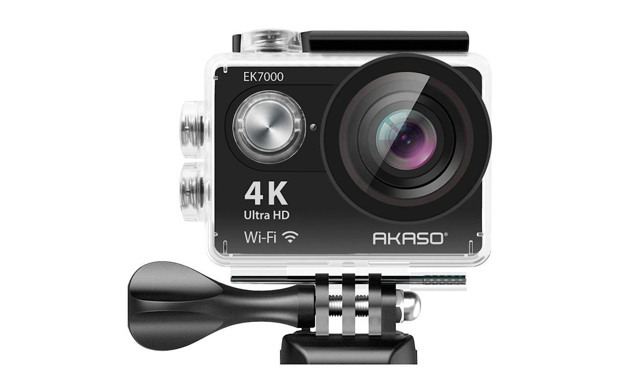 """<p>Headed to the tropics or have a <a href=""""https://www.travelandleisure.com/trip-ideas/nature-travel/best-snorkeling-spots"""" target=""""_blank"""">snorkeling trip planned</a>? Invest in a great underwater camera like this Akaso option. With over 8,200 reviews and an impressive 4.3-star rating, it is one of the most popular waterproof cameras on Amazon. It has a 170-degree wide angle lens, a wireless wrist remote, and it comes with an underwater case that allows you to take photos up to 30 meters under sea level.</p> <p>What's more, the compact camera has built-in wifi capabilities so you can instantly share your photos via social media, text, or email. """"Worked great for my Hawaii snorkeling adventure,"""" raved one customer. """"Great clear pictures!! Awesome camera, I have another underwater camera that I've used on previous vacations and this is leaps and bounds better!! This was awesome for video as well.""""</p> <p>To buy: <a href=""""https://www.amazon.com/AKASO-EK7000-Sports-Waterproof-Camcorder/dp/B01HGM33HG/ref=as_li_ss_tl?ie=UTF8&linkCode=ll1&tag=tltravelcamerasrcarhart0319-20&linkId=47a1633adc8bd6ac5832ab61c1198bff"""" target=""""_blank"""">amazon.com</a>, $60</p>"""