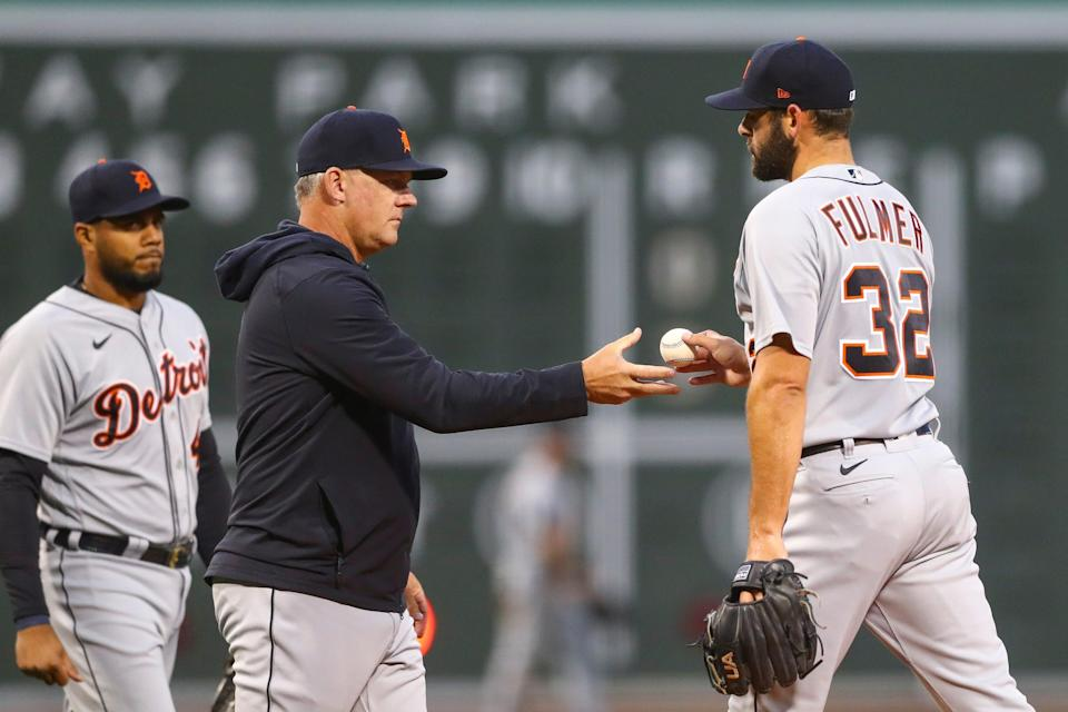 Michael Fulmer of the Detroit Tigers is pulled from the game in the second inning against the Boston Red Sox at Fenway Park in Boston on Tuesday, May 4, 2021.
