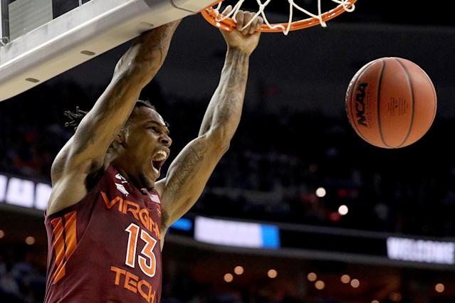 <p>Ahmed Hill #13 of the Virginia Tech Hokies dunks the ball against the Duke Blue Devils during the first half in the East Regional game of the 2019 NCAA Men's Basketball Tournament at Capital One Arena on March 29, 2019 in Washington, DC. (Photo by Patrick Smith/Getty Images) </p>