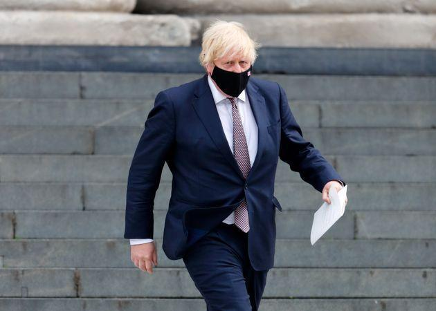 LONDON, UNITED KINGDOM - JULY 05: (EMBARGOED FOR PUBLICATION IN UK NEWSPAPERS UNTIL 24 HOURS AFTER CREATE DATE AND TIME) Prime Minister Boris Johnson wears a face mask as he departs following a Service of Commemoration and Thanksgiving marking the 73rd Anniversary of the foundation of the NHS on July 5, 2021 in London, England. (Photo by Max Mumby/Indigo/Getty Images) (Photo: Max Mumby via Getty Images)