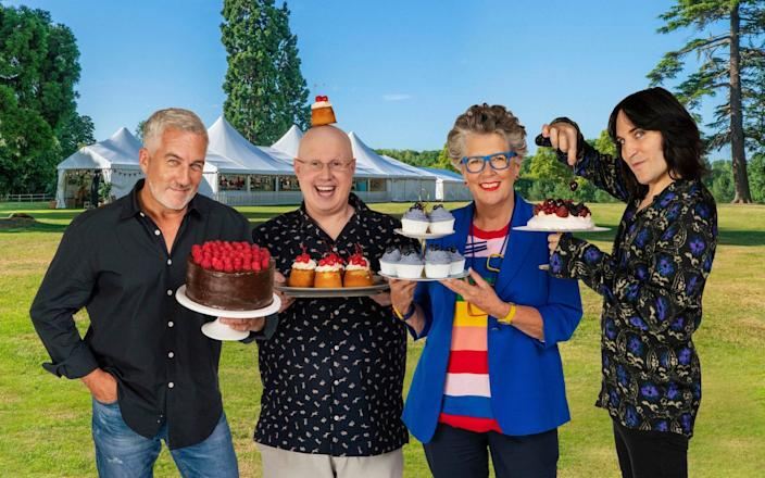 Prue Leith and the Great British Bake Off team of Paul Hollywood, Matt Lucas and Noel Fielding - Mark Bourdillon/C4/Love Productions/PA