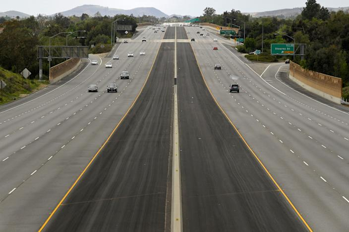 Light traffic is seen in the afternoon on the 118 Ronald Reagan freeway, Sunday, in Simi Valley, California. The highway is usually much busier on a Sunday afternoon.
