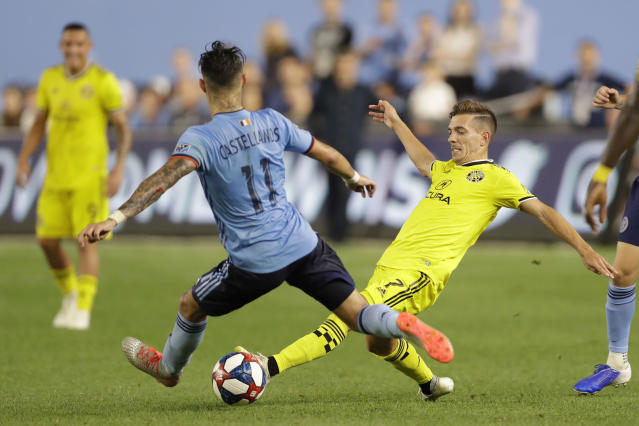 Columbus Crew forward Pedro Santos (7) and New York City FC midfielder Valentin Castellanos (11) compete for control of the ball during the second half of an MLS soccer match, Wednesday, Aug. 21, 2019, in New York. New York City FC defeated Columbus 1-0. (AP Photo/Kathy Willens)