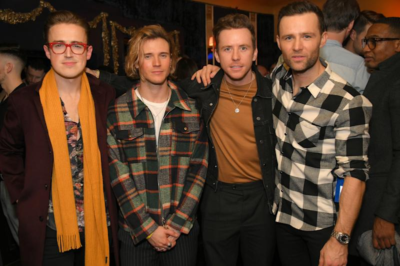 """Tom Fletcher, Dougie Poynter, Danny Jones and Harry Judd of McFly attend the press night after party for """"Rip It Up"""" at Cafe de Paris on February 12, 2019 in London, England."""