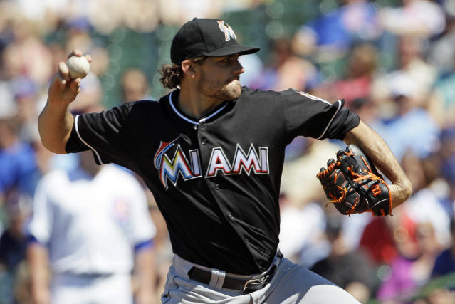 Miami Marlins starter Nathan Eovaldi throws against the Chicago Cubs during the first inning of a baseball game in Chicago, Friday, June 6, 2014. (AP Photo/Nam Y. Huh)