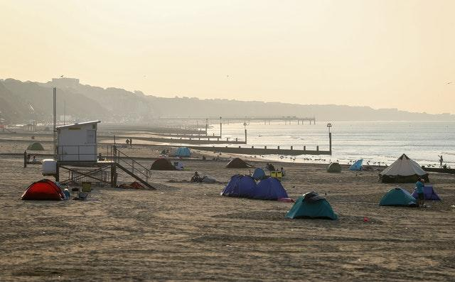 Tents pitched up on Bournemouth beach