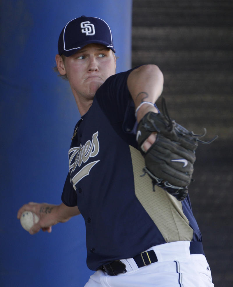 San Diego Padres pitcher Mat Latos throws during baseball spring training Monday, Feb. 14, 2011, in Peoria, Ariz. (AP Photo/Charlie Riedel)