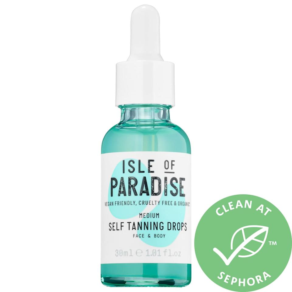 <p>Just add these popular <span>Isle of Paradise Self Tanning Drops</span> ($29) to your favorite moisturizer, and get a sun-kissed glow with no streaking. Choose from three different shades depending on your desired effect: a light peach with brightening powers, a medium green that balances out redness, or a dark violet that can reduce sallow undertones.</p>