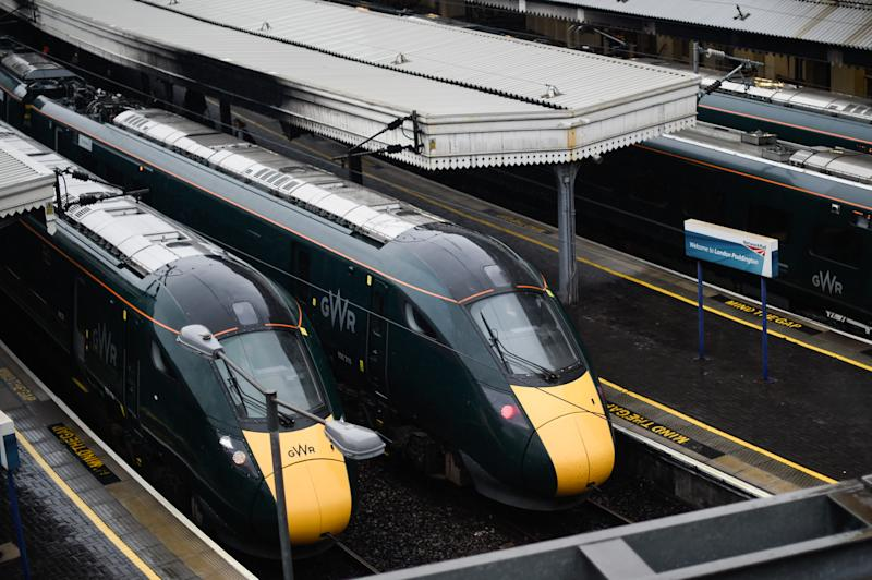 LONDON, ENGLAND - AUGUST 14: General View of trains at Paddington Central on August 14, 2019 in London, England. Rail users in the UK will be hit by a further rise in ticket prices which will come into effect next year. The increase will be based on the Retail Prices Index (RPI) inflation measure for July of 2.8%. (Photo by Peter Summers/Getty Images)
