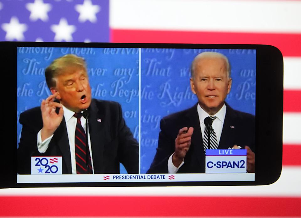 US President Donald Trump and Democratic presidential candidate and former US Vice President Joe Biden are seen during the first presidential debate. (Photo Illustration by Pavlo Conchar/SOPA Images/LightRocket via Getty Images)