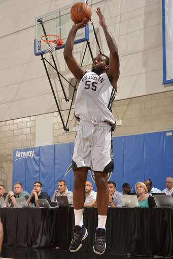 ORLANDO, FL - JULY 9: Donte Greene #55 of the Brooklyn Nets shoots the ball against the Philadelphia 76ers during the Samsung NBA Summer League 2014 on July 9, 2014 at Amway Center in Orlando, Florida. (Photo by Fernando Medina/NBAE via Getty Images)