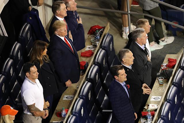 The Republican National Committee reportedly paid $465 per seat for Donald Trump and his group to attend Game 5 of the World Series on Sunday. (Will Newton/Getty Images)