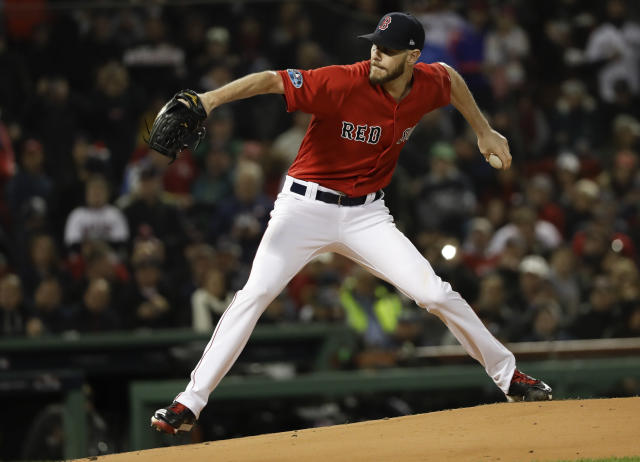 Chris Sale will not be available to start ALCS Game 5 for the Boston Red Sox as he continues recovering from illness. (AP)