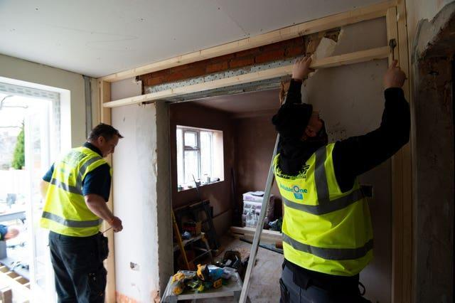 Volunteers from the charity Band of Builders at work