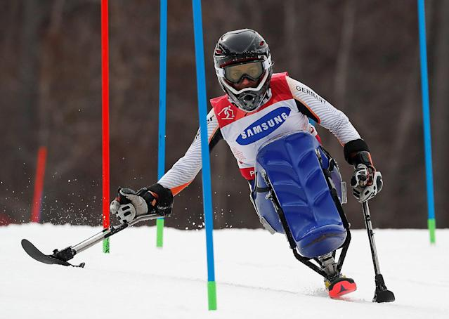 Alpine Skiing - Pyeongchang 2018 Winter Paralympics - Women's Slalom - Sitting - Run 1 - Jeongseon Alpine Centre - Jeongseon, South Korea - March 18, 2018 - Anna Schaffelhuber of Germany. REUTERS/Paul Hanna