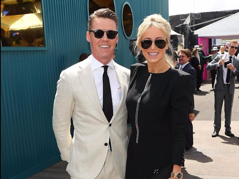 Oliver and Roxy, pictured at Derby Day in Melbourne on Saturday, were separated when Oliver went to prison in June 2016. Source: Getty