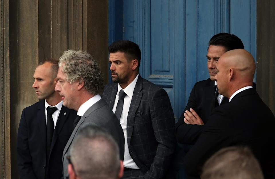 Thomas Buffel, Nacho Novo (centre) with Michael Mols (second right) at Wellington Church, Glasgow. (Photo by Andrew Milligan/PA Images via Getty Images)