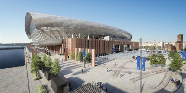 Artist's impression of Everton's new stadium at Bramley Moore Dock