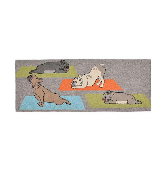 "<p>Frontporch Yoga Dogs Hand Tufted Rectangular Runner, $240, <a href=""http://www.jcpenney.com/p/liora-manne-frontporch-yoga-dogs-hand-tufted-rectangular-runner/ppr5007260535"" rel=""nofollow noopener"" target=""_blank"" data-ylk=""slk:jcpenney.com"" class=""link rapid-noclick-resp"">jcpenney.com</a> </p>"