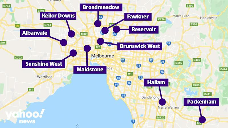 The 10 suburbs currently undergoing a testing blitz. Source: Google Maps