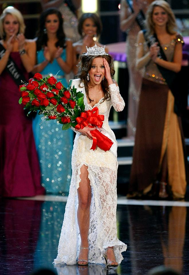 """Katie R. Stam, Miss Indiana, reacts after being crowned Miss America during the <a href=""""/miss-america-countdown-to-the-crown/show/44013"""">2009 Miss America Pageant</a> at the Planet Hollywood Resort & Casino January 24, 2009 in Las Vegas, Nevada."""