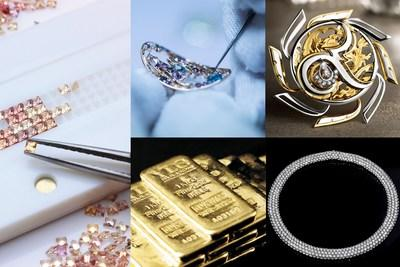 From far left (clockwise) 1. Process of designing pattern for invisible setting bracelet at China Stone. 2. A piece of jewellery from MKS undergoes finishing touches. 3. Christy Gems' Nawatara-Innovative product. 4. Diamond necklace from K.S. Jewelry. 5. YLG 999.9 gold bar.