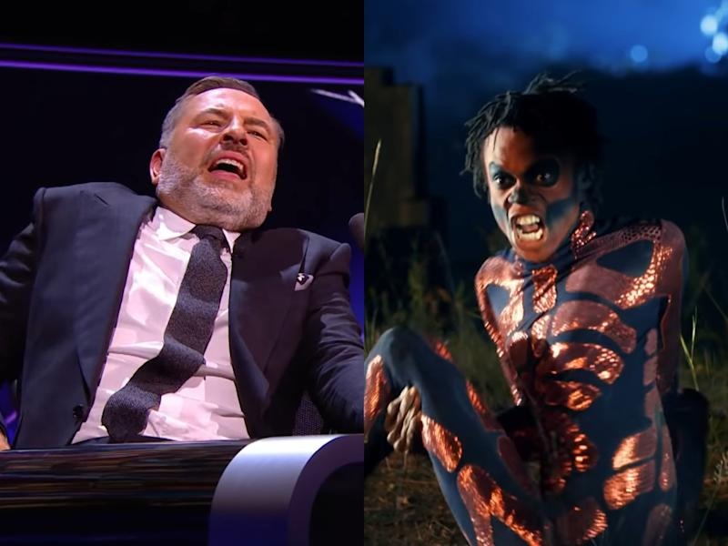 David Walliams (left) recoils in horror at the graveyard contortions of Papi Flex (right) (ITV)