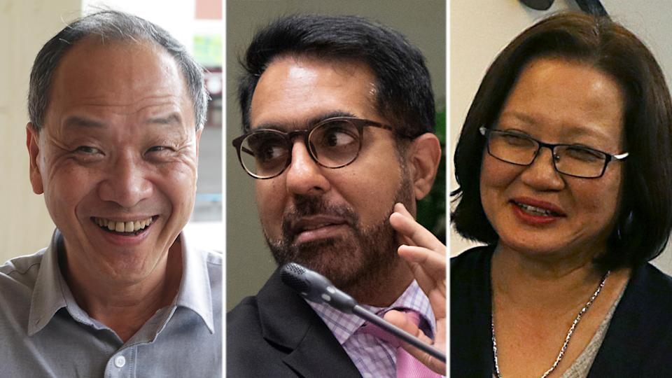 (From left) Workers' Party ex-chief Low Thia Khiang, WP secretary-general Pritam Singh and WP chairman Sylvia Lim. (Yahoo News Singapore file photos)