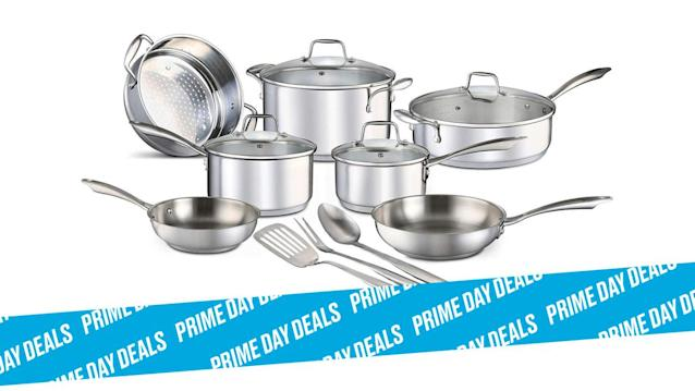 Photo Illustration by Elizabeth Brockway/The Daily Beast * Chef's Star 14-Piece Stainless Steel Pots and Pans Set, $111 (21% off) * 4.2-star average rating, premium 18/8 commercial grade stainless steel, impact-bonded aluminum bottom * Shop the rest of our other Prime Day deal picks here. Not a Prime member yet? Sign up here.Cooking is better with high-quality tools and cookware. This professional grade set covers all the basics and will elevate the look, efficiency, and feel of your summer dinners and weekend extravaganzas. And you're even getting the cooking utensils to go with this freezer and dishwasher-safe cooking set. | Get it on Amazon >Let Scouted guide you to the best Prime Day deals. Shop Here >Scouted is internet shopping with a pulse. Follow us on Twitter and sign up for our newsletter for even more recommendations and exclusive content. Please note that if you buy something featured in one of our posts, The Daily Beast may collect a share of sales.Read more at The Daily Beast.Got a tip? Send it to The Daily Beast hereGet our top stories in your inbox every day. Sign up now!Daily Beast Membership: Beast Inside goes deeper on the stories that matter to you. Learn more.