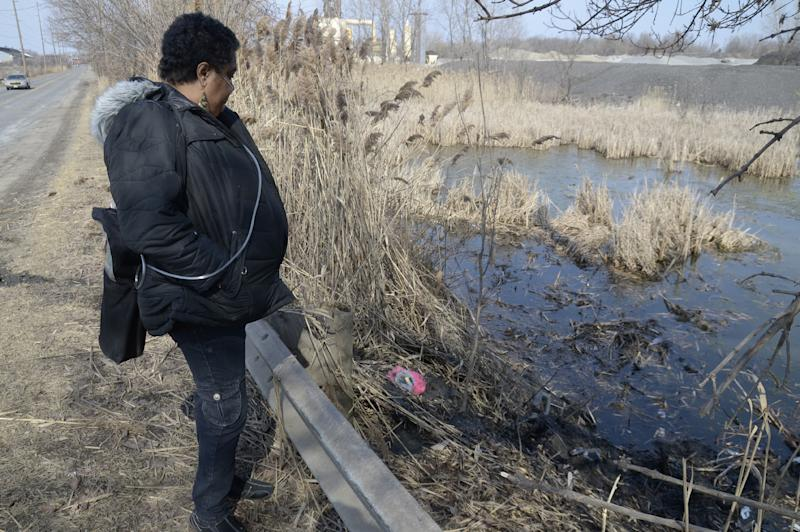 Carol Trimble of Warren, a family member of the victims, views the pond along Pine Avenue S.E. in Warren, Ohio where police say six teens were killed in the crash, Sunday, March 10, 2013. (AP Photo/Tribune Chronicle, R. Michael Semple)