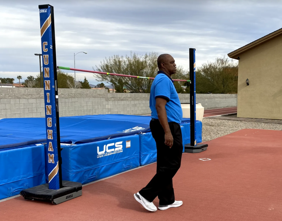 Randall Cunningham has taken up coaching, just not football. He coaches his daughters, including 22-year-old Vashti who is an Olympic medal contender in the high jump. (Yahoo Sports)