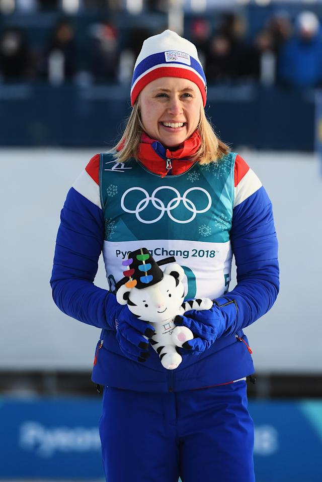 <p>Ragnhild Haga of Norway celebrates wining the gold medal in the cross-country skiing ladies 10k free. Charlotte Kalla of Sweden won the silver, while Marit Bjoergen of Noway and Krista Parmakoski won joint bronze. (Getty) </p>