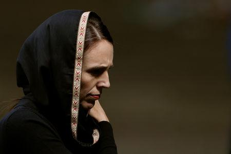 Minister Jacinda Ardern leaves after the Friday prayers at Hagley Park outside Al Noor mosque in Christchurch New Zealand