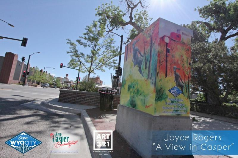 """""""A View in Casper"""" by Joyce Rogers. Rogers' work was selected as the people's choice winner. Located at the NE corner of the intersection of Yellowstone and Ash Streets."""
