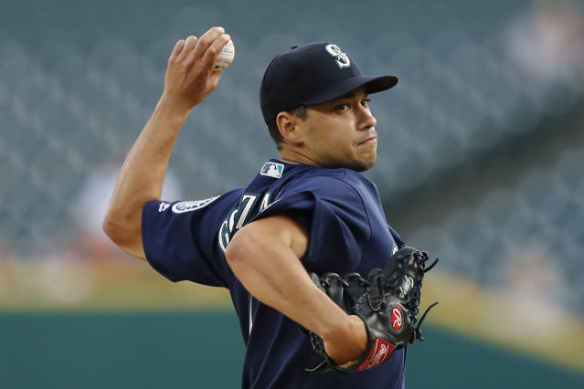 Seattle Mariners starting pitcher Marco Gonzales throws during the first inning of a baseball game against the Detroit Tigers, Wednesday, Aug. 14, 2019, in Detroit. (AP Photo/Carlos Osorio)