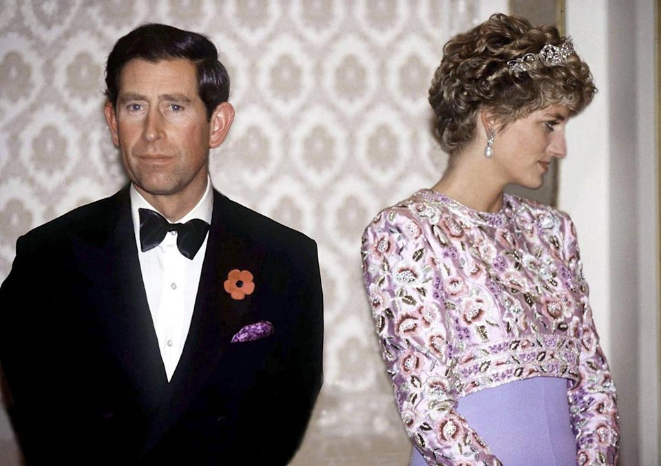 SOUTH KOREA - NOVEMBER 03:  Prince Charles And Princess Diana On Their Last Official Trip Together - A Visit To The Republic Of Korea (south Korea).they Are Attending A Presidential Banquet At The Blue House In Seoul  (Photo by Tim Graham Photo Library via Getty Images)