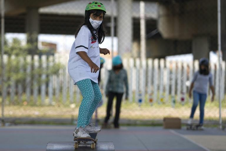 Skateboarder Marcela Rosa is just seven years old (AFP/Miguel SCHINCARIOL)
